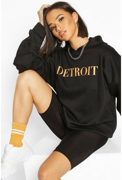 Black Detroit Slogan Oversized Hoody
