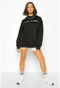 New York Slogan Oversized Hoody, Black