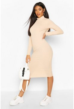 Nude Recycled Turtleneck Rib Midi Dress
