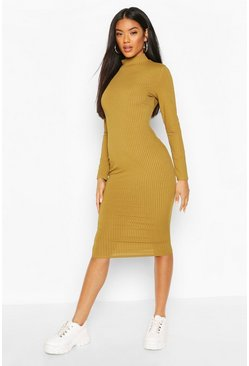 Olive Recycled Roll Neck Rib Midi Dress