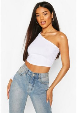 White Recycled One Shoulder Rib Crop Top