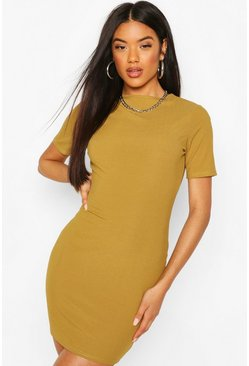 Olive Recycled Cap Sleeve Rib Bodycon Dress