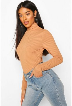 Tan Recycled Roll Neck Bodysuit