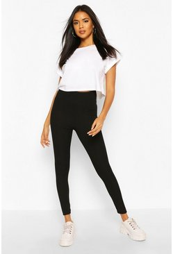 Black Recycled Rib Leggings
