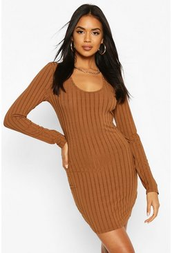 Brown Recycled Scoop Neck Rib Dress