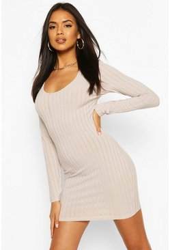 Light grey Recycled Scoop Neck Rib Dress