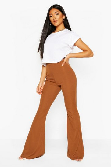 Brown Recycled Rib Flare Trousers