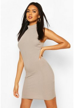 Mid grey Recycled High Neck Rib Mini Dress