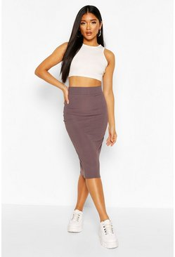 Charcoal Recycled Rib Midi Skirt