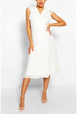 Angel Sleeve Midi Skater Dress, Ivory