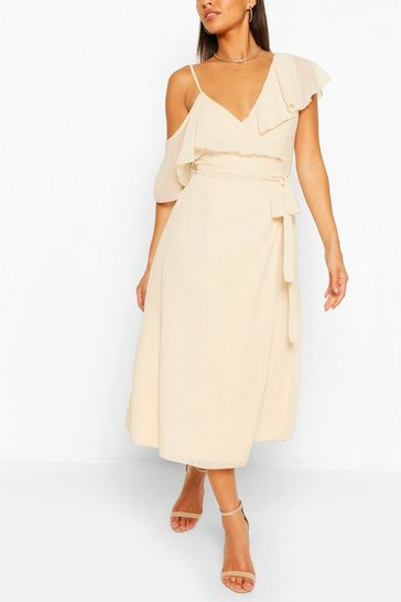 Ivory Chiffon Cold Shoulder Wrap Midi Skater Dress