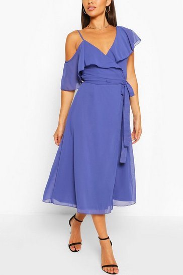 Navy Chiffon Cold Shoulder Wrap Midi Skater Dress