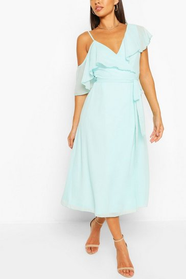 Pastel blue Chiffon Cold Shoulder Wrap Midi Skater Dress