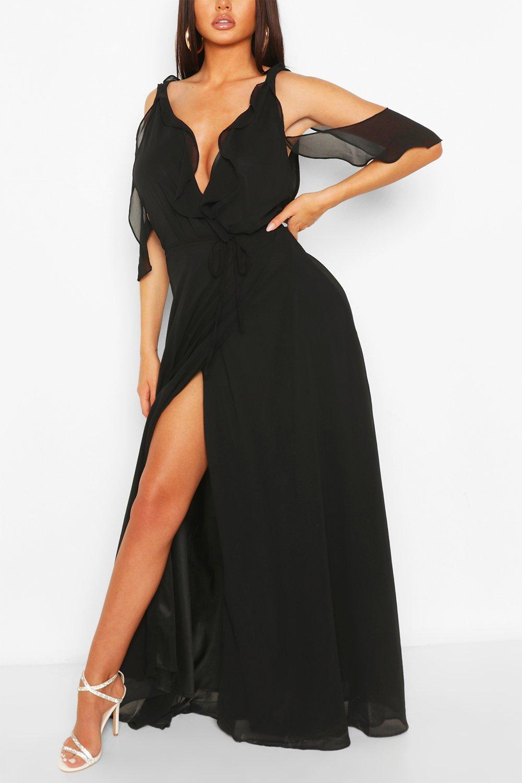 70s Prom, Formal, Evening, Party Dresses Womens Boutique Chiffon Frill Wrap Maxi Dress - Black - 14 $22.00 AT vintagedancer.com