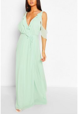 Mint Boutique Chiffon Frill Wrap Maxi Dress
