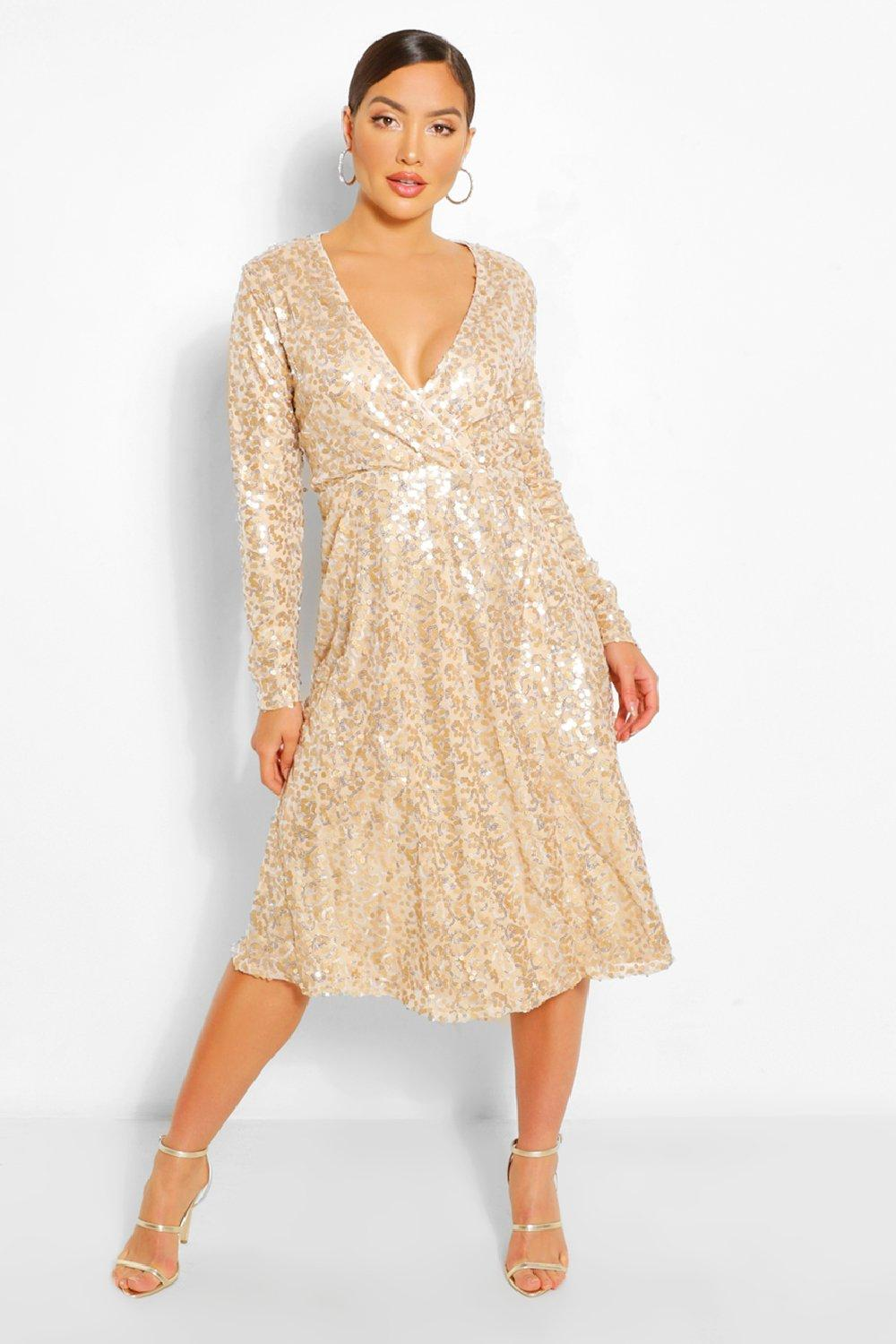 70s Prom, Formal, Evening, Party Dresses Womens Boutique Sequin Wrap Midi Dress - Beige - 8 $22.00 AT vintagedancer.com