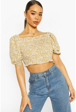 Yellow Woven Dusty Shirred Crop Top
