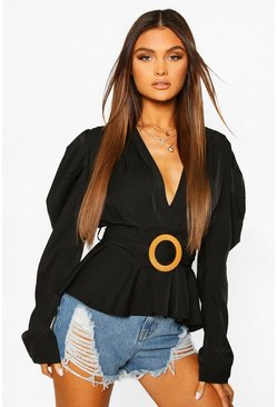 Black Woven Pleated Belted Puff Sleeve Blouse