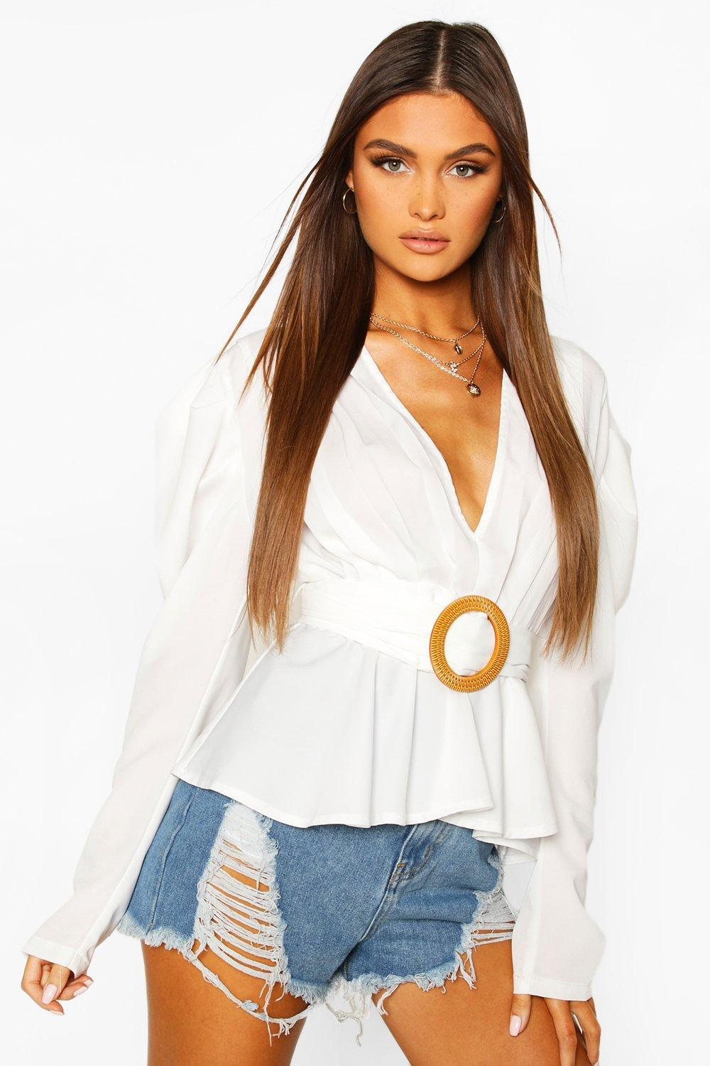 Vintage Tops & Retro Shirts, Halter Tops, Blouses Womens Woven Pleated Belted Puff Sleeve Blouse - white - 10 $15.00 AT vintagedancer.com