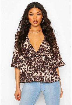 Brown Woven Leopard Smock Top