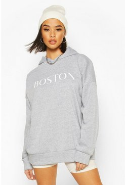 "Oversized Hoodie mit ""Boston""-Slogan, Grau"
