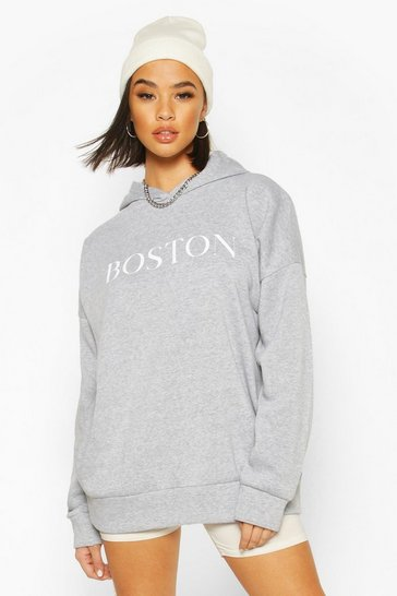 Grey Boston Slogan Oversized Hoody