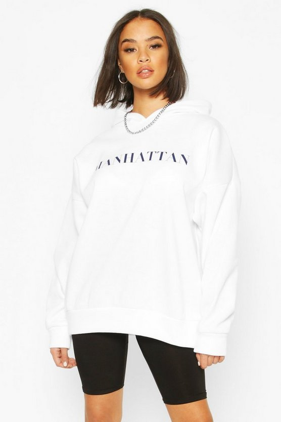 White Manhattan Slogan Oversized Hoody