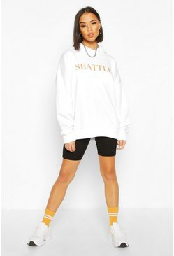 White Seattle Slogan Overized Hoody