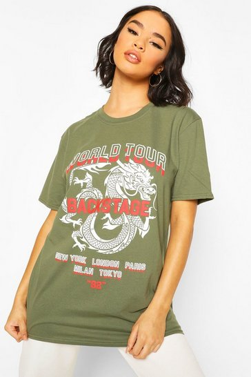 Khaki Dragon Print Oversized T-Shirt