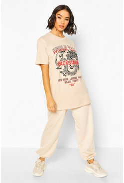 Stone Dragon Print Oversized T-Shirt