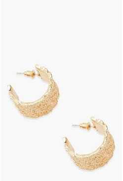 Gold Textured Metal Thick Hoop Earrings