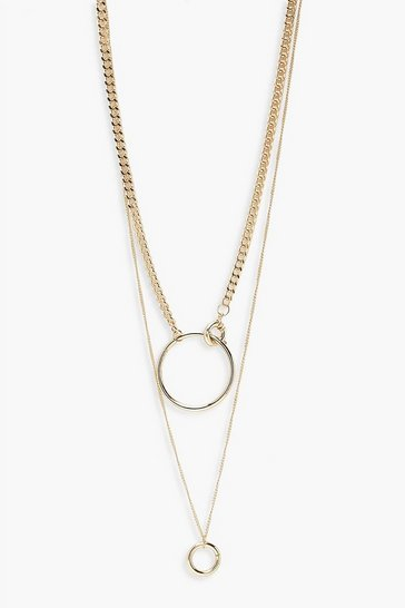 Gold Double Layer Ring Detail Necklace