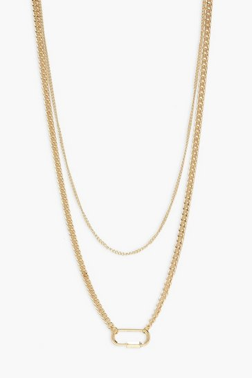 Gold Lock Detail Double Layer Necklaces