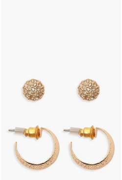 Gold 2 Pack Stud & Hoop Earrings