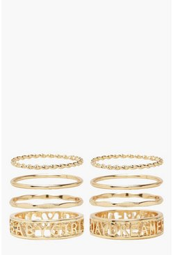 Slogan Ring Pack, Gold