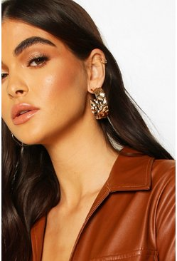 Hammered Metal Chunky Hoop Earrings, Gold