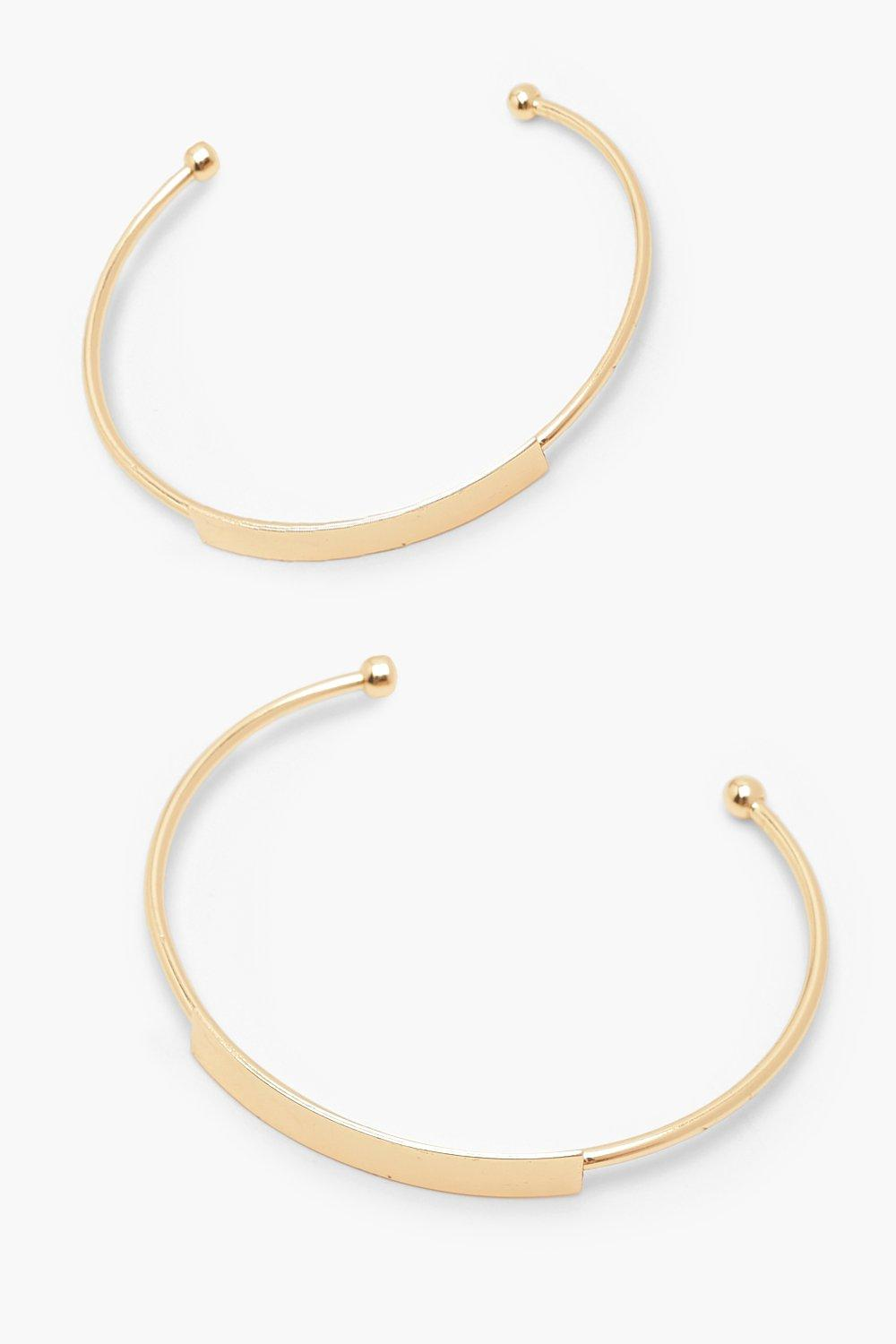 womens 2 pack bar front bangle - metallics - one size