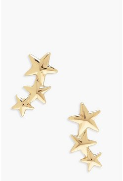 Gold Drop Star Stud Earrings