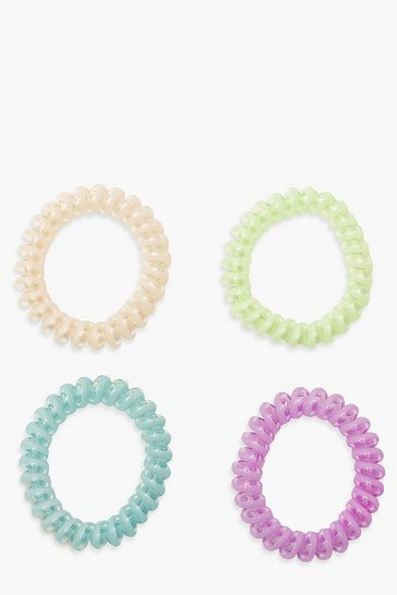 Multi Pastel Coil Elastic Hair Band Bobble 4 Pack