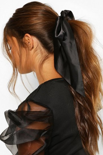 Black Satin & Scarf Hair Tie