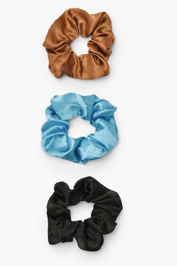 Multi Satin Srunchie 3 Pack