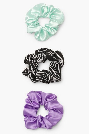 Multi Zebra Print Satin Scrunchie 3 Pack