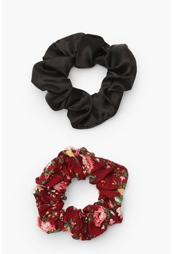 Red Ditsy Print Scrunchie 2 Pack