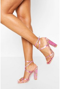 Lilac Oriental Print Strappy Heels