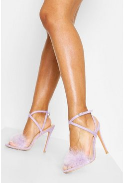 Lilac Feather Trim 2 Part Stilettos