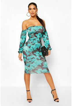 Green Oriental Bardot Longsleeve Midi Dress
