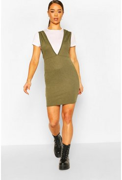 Khaki T-Shirt Layered Pinafore Dress