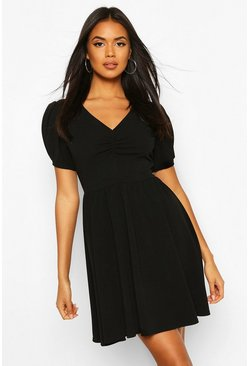 Black Ruched Bust Puff Sleeve Smock Dress