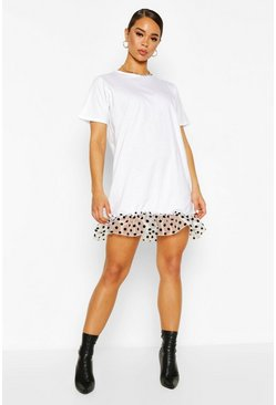 White Polka Dot Mesh Drop Hem T-Shirt Dress