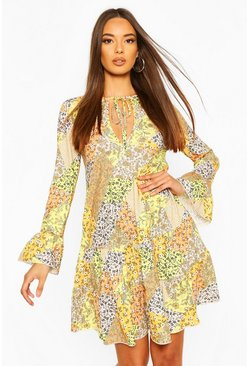 Yellow Patchwork Floral Tiered Gypsy Dress
